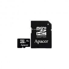 Κάρτα Μνήμης MicroSDHC Apacer 4GB Class4 + Adaptor